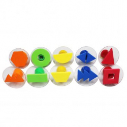 Valisette de 10 Tampons en Mousse Double Densité avec Poignée - Diamètre 7,5cm - Thème Mes Formes Géométriques