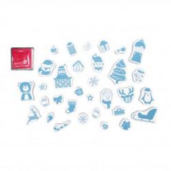 Boîte de 32 Mini Tampons 1,3mm - Encreur Rouge - Thème Noël - Assortiment de Tailles