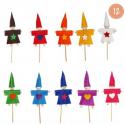 Kit Formes en Feutrine 2mm + Perles en Bois + Chenilles + Batonnets - 12 Lutins à Fabriquer - Assortiment de 10 Couleurs