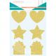 Pack de 36 Gommettes à Gratter Pailleté de 7cm - 6 Planches 17x22cm - 3 Formes Dorées