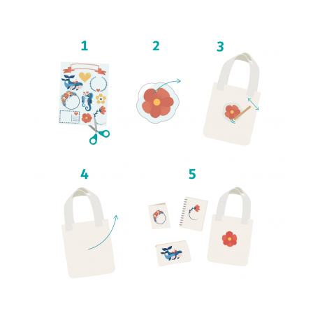 Pack de 60 Gommettes Décalcomanie Textile et Papier - 6 Planches 17x22cm - Thème A Offrir