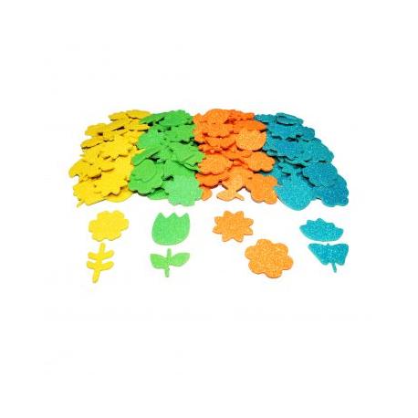Pack de 200 Stickers en Mousse EVA Pailletée 2mm - Thème Printemps - Assortiment de 4 Couleurs