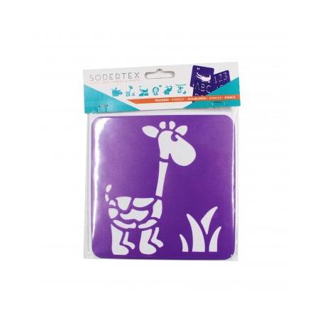 Pack de 6 Pochoirs en Plastique Incassable 5mm - Thème Dans La Savane - Dim 14x14cm - Coloris Violet
