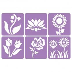 Pack de 6 Pochoirs en Plastique Incassable 5mm - Thème Mon Jardin Botanique - Dim 14x14cm - Coloris Violet