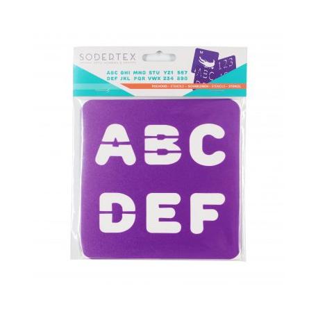 Pack de 6 Pochoirs en Plastique Incassable 5mm - Thème Chiffres et Lettres - Dim 14x14cm - Coloris Violet