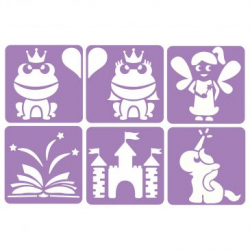Pack de 6 Pochoirs en Plastique Incassable 5mm - Thème Il Était Une Fois - Dim 14x14cm - Coloris Violet