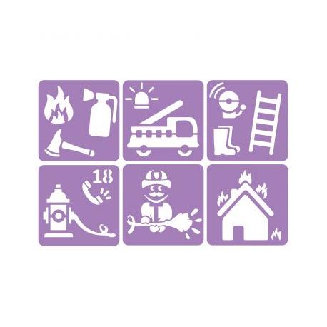 Pack de 6 Pochoirs en Plastique Incassable 5mm - Thème Les Pompiers - Dim 14x14cm - Coloris Violet