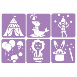 Pack de 6 Pochoirs en Plastique Incassable 5mm - Thème Le Cirque - Dim 14x14cm - Coloris Violet