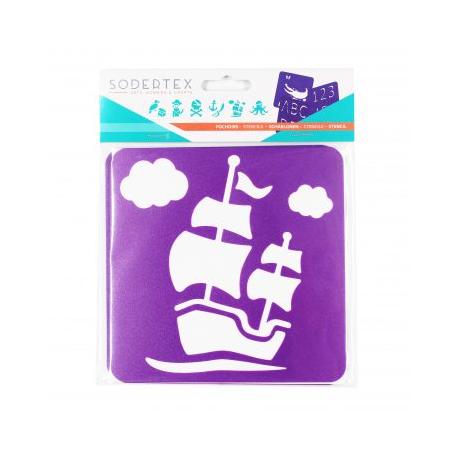 Pack de 6 Pochoirs en Plastique Incassable 5mm - Thème A L'Abordage - Dim 14x14cm - Coloris Violet