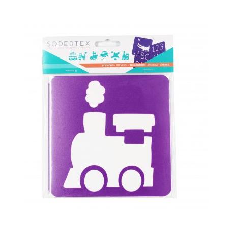 Pack de 6 Pochoirs en Plastique Incassable 5mm - Thème Mes Transports - Dim 14x14cm - Coloris Violet