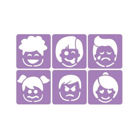 Pack de 6 Pochoirs en Plastique Incassable 5mm - Thème Les Emotions - Dim 14x14cm - Coloris Violet