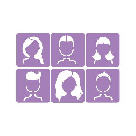 Pack de 6 Pochoirs en Plastique Incassable 5mm - Thème Les Visages - Dim 14x14cm - Coloris Violet