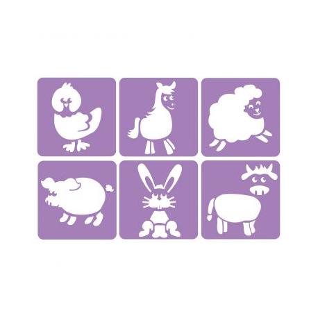 Pack de 6 Pochoirs en Plastique Incassable 5mm - Thème A La Ferme - Dim 14x14cm - Coloris Violet