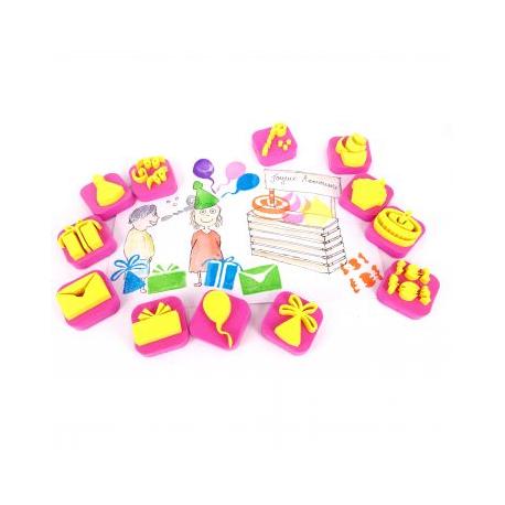 Pack de 12 Mini Tampons en Mousse EVA - Diamètre 3/4cm - Thème La Fête