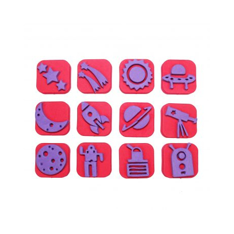 Pack de 12 Mini Tampons en Mousse EVA - Diamètre 3/4cm - Thème Destination Lune