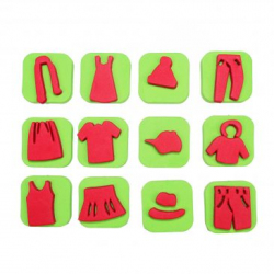 Pack de 12 Mini Tampons en Mousse EVA - Diamètre 3/4cm - Thème Ma Jolie Garde Robe