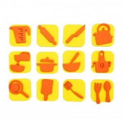 Pack de 12 Mini Tampons en Mousse EVA - Diamètre 3/4cm - Thème Toque Chef