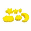 Pack de 6 Eponges Tampons à peindre 25mm - Coloris Jaune - Thème Sur Mon Nuage