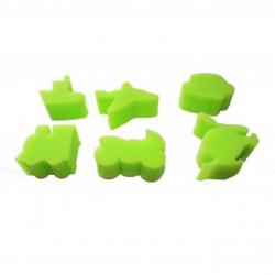Pack de 6 Eponges Tampons à peindre 25mm - Coloris Vert - Thème En Route