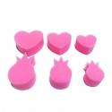 Pack de 6 Eponges Tampons à peindre 25mm - Coloris Rose - Thème Coeur