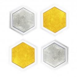 Pack de 4 Encreurs Géants Or et Argent - Diamètre 16cm - Assortiment de 2 Couleurs