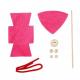 Kit Formes en Feutrine 2mm + Perles en Bois + Chenilles + Batonnets - Lutin à Fabriquer - Coloris Fushia