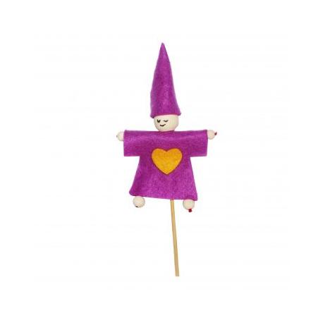 Kit Formes en Feutrine 2mm + Perles en Bois + Chenilles + Batonnets - Lutin à Fabriquer - Coloris Violet