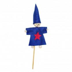 Kit Formes en Feutrine 2mm + Perles en Bois + Chenilles + Batonnets - Lutin à Fabriquer - Coloris Bleu Roi