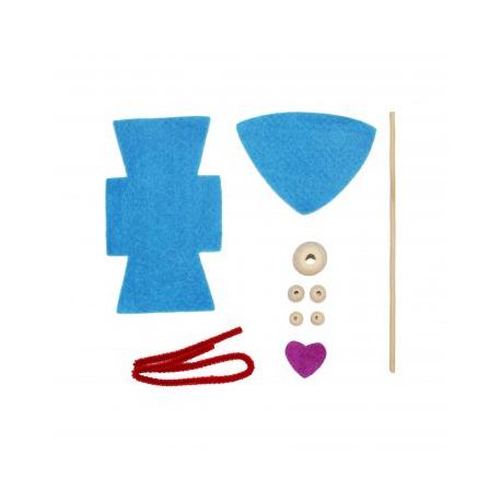 Kit Formes en Feutrine 2mm + Perles en Bois + Chenilles + Batonnets - Lutin à Fabriquer - Coloris Bleu Ciel