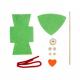 Kit Formes en Feutrine 2mm + Perles en Bois + Chenilles + Batonnets - Lutin à Fabriquer - Coloris Vert