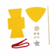 Kit Formes en Feutrine 2mm + Perles en Bois + Chenilles + Batonnets - Lutin à Fabriquer - Coloris Jaune