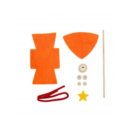 Kit Formes en Feutrine 2mm + Perles en Bois + Chenilles + Batonnets - Lutin à Fabriquer - Coloris Orange