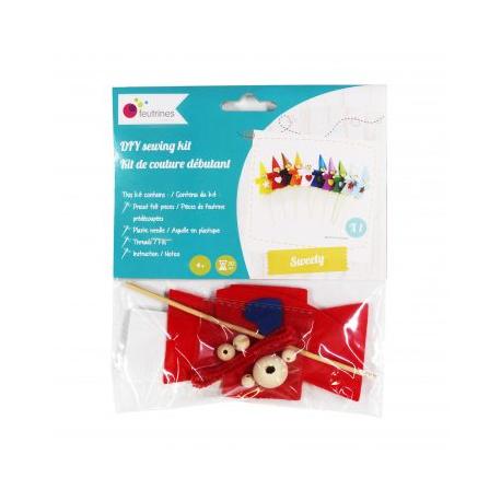 Kit Formes en Feutrine 2mm + Perles en Bois + Chenilles + Batonnets - Lutin à Fabriquer - Coloris Rouge