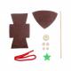 Kit Formes en Feutrine 2mm + Perles en Bois + Chenilles + Batonnets - Lutin à Fabriquer - Coloris Marron