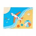 Kit Patchwork Mousse EVA & Tissu à Fabriquer - 13x18cm - Thème Aventure à la Plage - Coloris Assortis