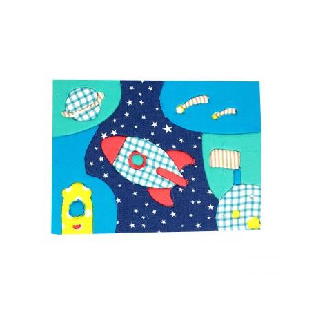 Kit Patchwork Mousse EVA & Tissu à Fabriquer - 13x18cm - Thème Mission Spaciale - Coloris Assortis