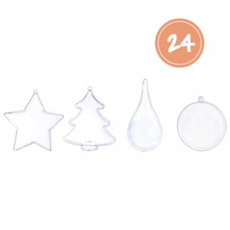 Pack de 24 Formes en Plastique Transparents