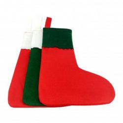 Lot de 10 Chaussettes de Noël à Décorer en Feutrine 1mm - 20x30cm - Assortiment de 3 Coloris