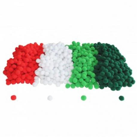 Lot de 1000 Minis Pompons Noël 1cm - Assortiment de 4 Coloris