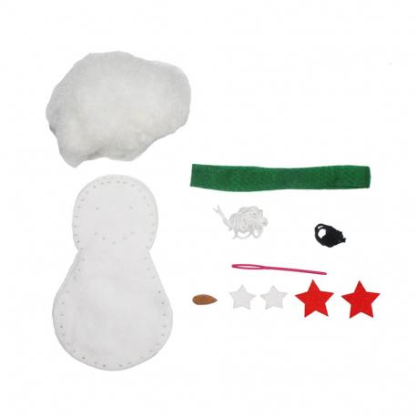 Kit Bonhomme de Neige Boonty en Feutrine 2mm à Coudre - 12x7cm - Coloris Blanc