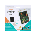 Pack de 10 Cartes Postales à Gratter + 10 bâtonnets en Bois - 10.4x14.8cm - Thème Animaux du Monde - Coloris Assortis