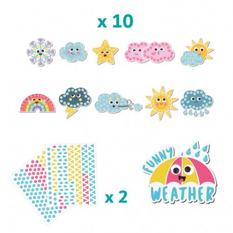 Pack de 10 Magnets à Strasser - 17x22cm - Thème Temps Rigolo - Coloris Assortis - Sodertex - L625925