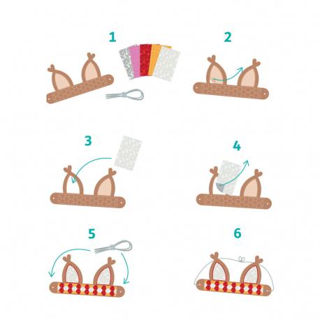 Pack de 10 Couronnes à Métaliser + Feuilles de Foil + Elastiques - 17x22cm - Thème Animaux - Coloris Assortis