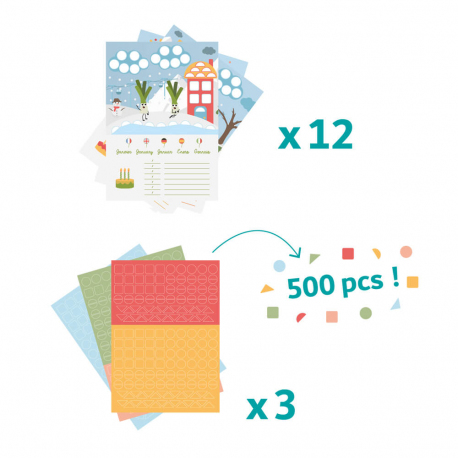 Kit Frise Anniversaire & Gommettes - Calendrier A4 12 Feuillets - Thème Fruits et Légumes - Coloris Assortis