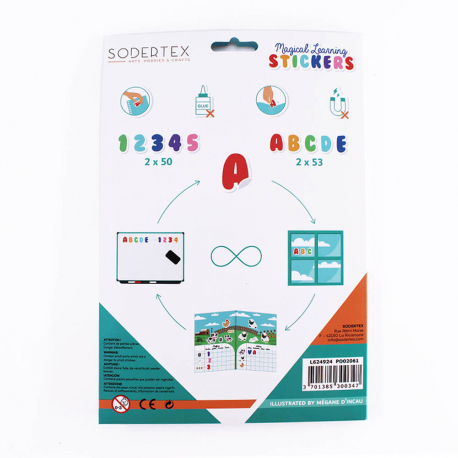 Pack de 206 Stickers Repositionnables Chiffres et Lettres Magical Learning - 17x22cm - Sodertex - L624924