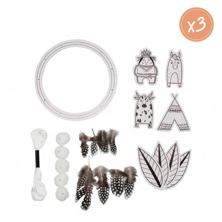Kit de 3 Attrape-Rêves à Fabriquer - Carton 250G/M2 - Thème Indien - Assortiment de Matières et de Coloris - Sodertex - L614914