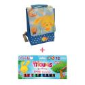 Pack Sac à Dos Isotherme Bleu Titounis et 12 sticks de peinture solide Playcolor Titounis - Le Monde des Titounis