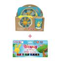 Pack Set dejeuner en bambou Bleu Titounis et 12 sticks de peinture solide Playcolor Titounis - Le Monde des Titounis