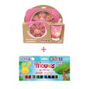 Pack Set dejeuner en bambou Rose Titounis et 12 sticks de peinture solide Playcolor Titounis - Le Monde des Titounis