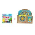 Pack Set dejeuner en bambou Bleu Titounis et 6 sticks de peinture solide Playcolor Titounis - Le Monde des Titounis